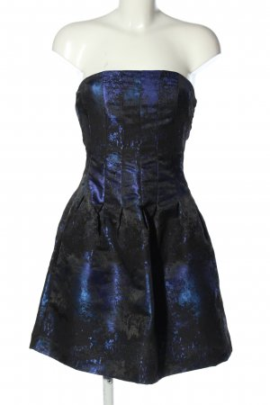 H&M Cocktailkleid schwarz-blau Allover-Druck Elegant