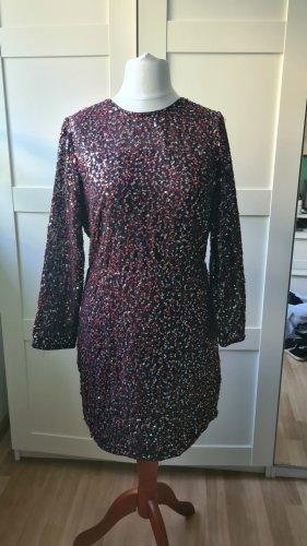 H&M Sequin Dress black-dark red