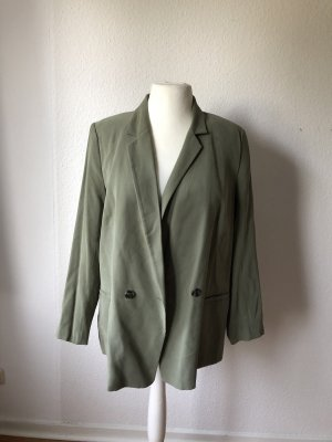 H&M Conscious Collection Marynarka typu boyfriend khaki-zielono-szary