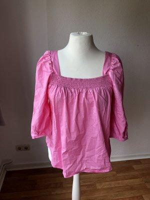 H&M Conscious Bluse mit Puffärmeln Pink