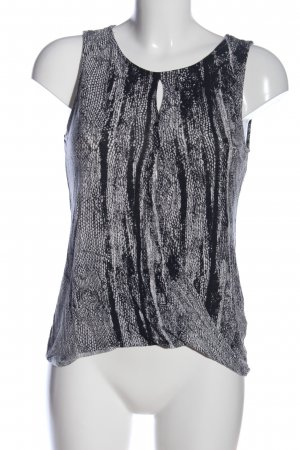 H&M Conscious Collection ärmellose Bluse schwarz-weiß Allover-Druck