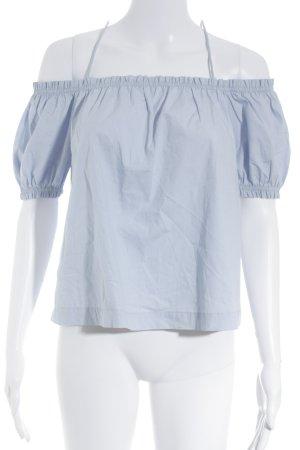 H&M Conscious Collection Carmen-Bluse hellblau Romantik-Look
