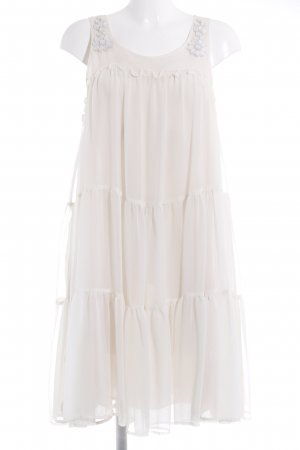 H&M Conscious Collection Chiffon Dress cream-white Gemstone ornaments