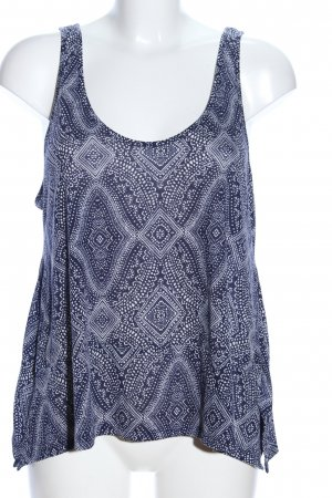 H&M Conscious Collection Cropped Top blau-weiß Allover-Druck Casual-Look