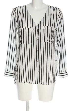 H&M Conscious Collection Hemd-Bluse weiß-schwarz Streifenmuster Casual-Look