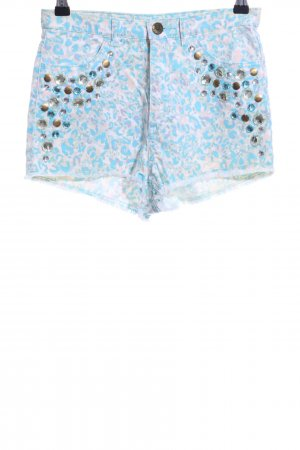 H&M Conscious Collection Hot Pants wollweiß-blau Leomuster Casual-Look