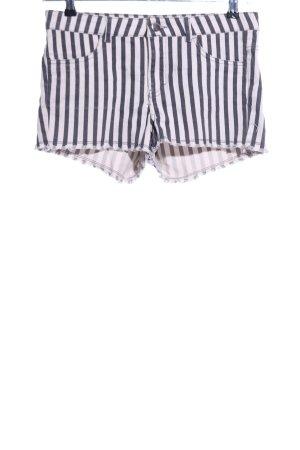 H&M Conscious Collection Jeansshorts schwarz-weiß Streifenmuster Casual-Look