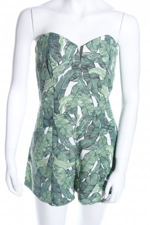 H&M Conscious Collection Jumpsuit weiß-grün Blumenmuster Casual-Look