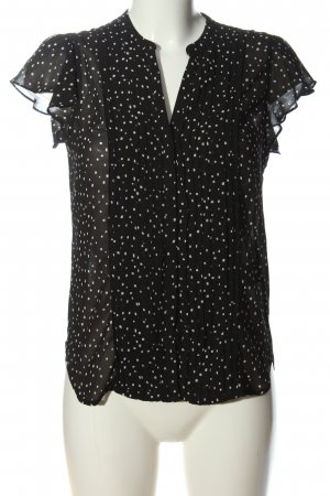 H&M Conscious Collection Kurzarm-Bluse schwarz-weiß abstraktes Muster