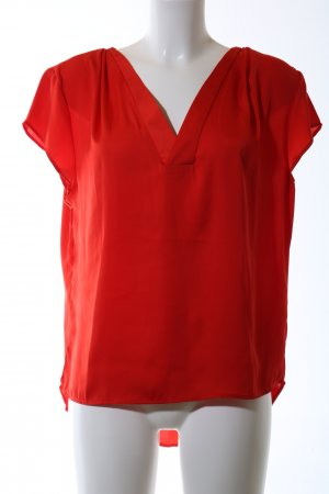 H&M Conscious Collection Kurzarm-Bluse rot Business-Look