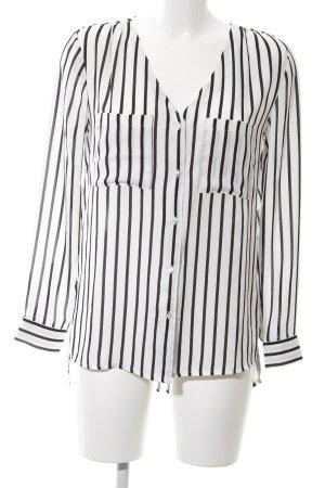 H&M Conscious Collection Langarm-Bluse weiß-schwarz Streifenmuster