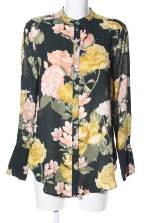 H&M Conscious Collection Langarm-Bluse schwarz-blassgelb Allover-Druck