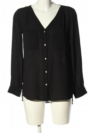 H&M Conscious Collection Langarm-Bluse schwarz Business-Look