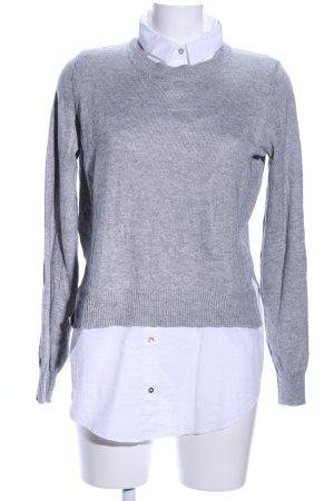 H&M Conscious Collection Langarmhemd hellgrau-weiß meliert Casual-Look
