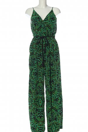 H&M Conscious Collection Langer Jumpsuit grün-schwarz Allover-Druck Casual-Look
