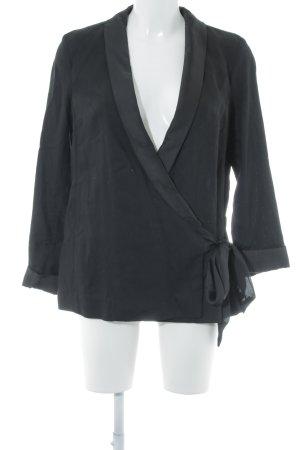 H&M Conscious Collection Long-Blazer schwarz Glanz-Optik