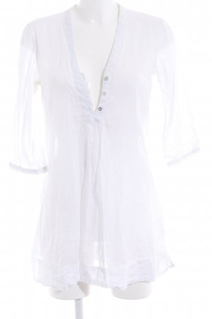 H&M Conscious Collection Long-Bluse weiß schlichter Stil
