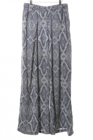 H&M Conscious Collection Stoffhose blau-weiß abstraktes Muster Casual-Look