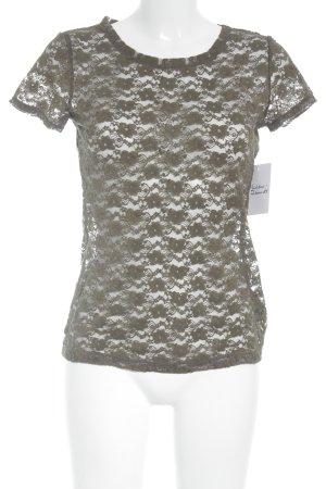 H&M Conscious Collection T-Shirt khaki Spitzenbesatz