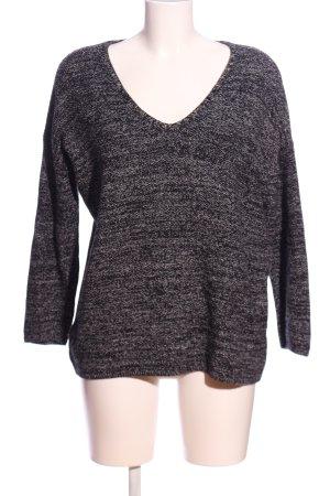 H&M Conscious Collection V-Ausschnitt-Pullover schwarz-hellgrau meliert