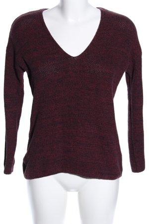 H&M Conscious Exclusive V-Ausschnitt-Pullover rot-schwarz meliert Casual-Look
