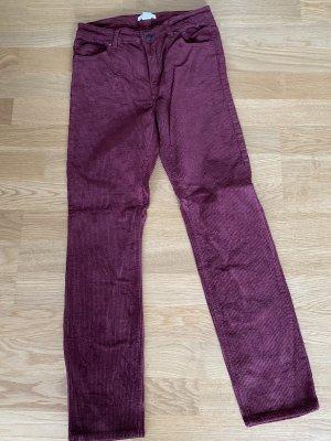 H&M Pantalón de pana burdeos
