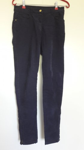 H&M Cordhose Skinny knöchellang mit Zipper dunkelblau Gr. 34