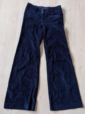 H&M Cordhose, Wide Leg, dunkelblau, Gr. 34