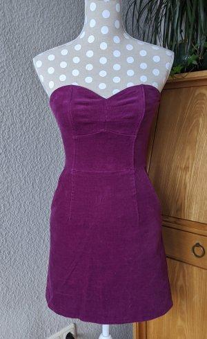 H&M Corsagenkleid aus Feincord, violett, Gr. 34