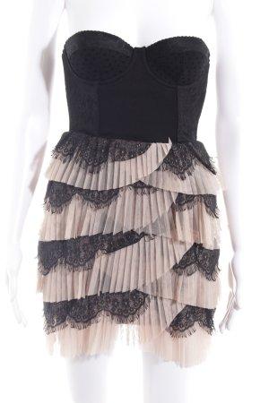 H&M Corsagenkleid schwarz-beige Elegant