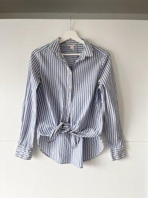 H&M Cotton Bluse gesteift blau weiss S 36
