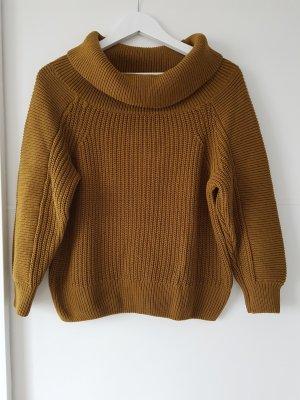 H&M Crooped Pullover, großer Kragen, Gr.XS, ocker, Häkel-/Strickmuster