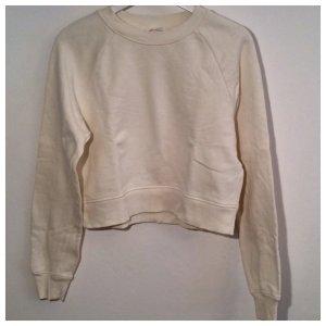 H&M, Crop Sweatshirt, cremefarben