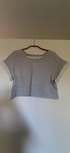 H&M Crop Sweatshirt kurzarm mit Rollkante grau meliert Gr. S
