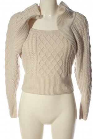 H&M Cropped Pullover creme grafisches Muster Casual-Look