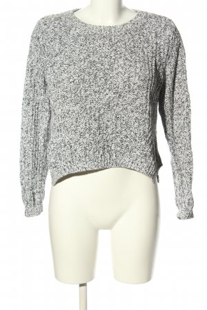 H&M Cropped Pullover schwarz-wollweiß meliert Casual-Look