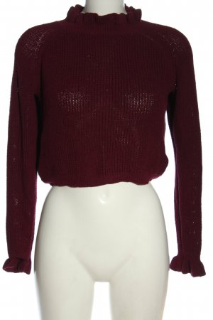 H&M Cropped Pullover rot Zopfmuster Casual-Look