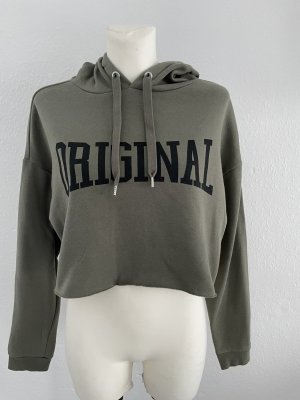 H&M Cropped Pullover Hoodie Khaki gr M
