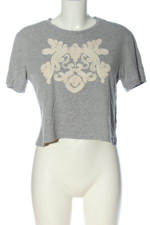 H&M Cropped Shirt hellgrau meliert Casual-Look