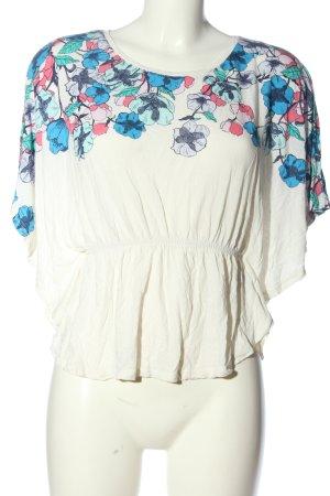 H&M Camicia cropped bianco-blu motivo floreale stile casual