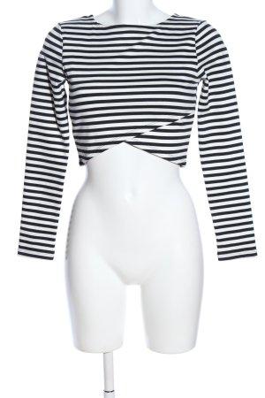 H&M Cropped Shirt weiß-schwarz Streifenmuster Casual-Look
