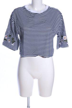 H&M Cropped Shirt weiß-blau Streifenmuster Casual-Look