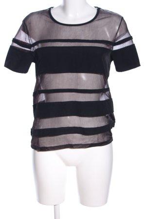 H&M Cropped Shirt schwarz Streifenmuster Elegant