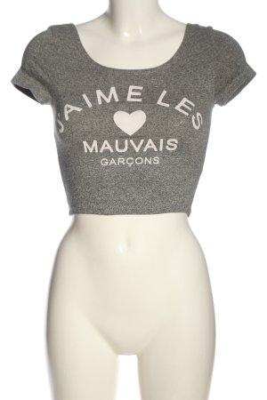 H&M Camisa recortada gris claro moteado look casual