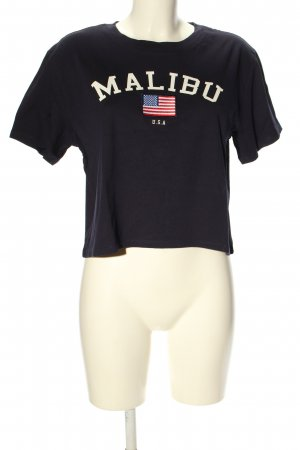 H&M Cropped shirt blauw-wit gedrukte letters casual uitstraling