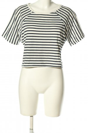 H&M Cropped Shirt weiß-schwarz Allover-Druck Casual-Look