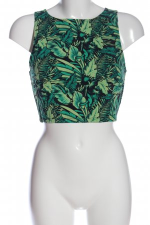 H&M Cropped Shirt black-green allover print casual look