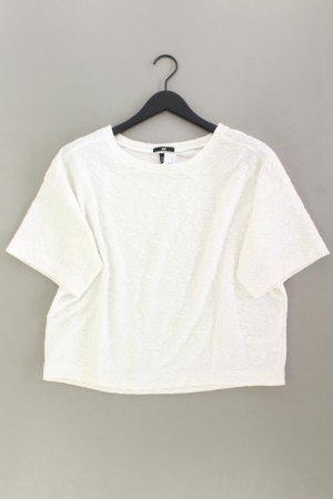 H&M Cropped Shirt Größe L Kurzarm weiß aus Polyester
