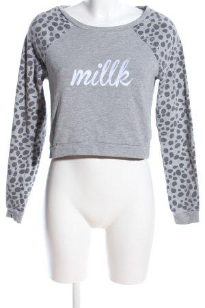 H&M Cropped Shirt hellgrau Allover-Druck Casual-Look