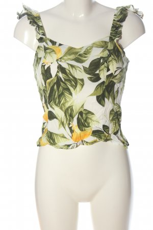 H&M Cropped Top white-green allover print casual look